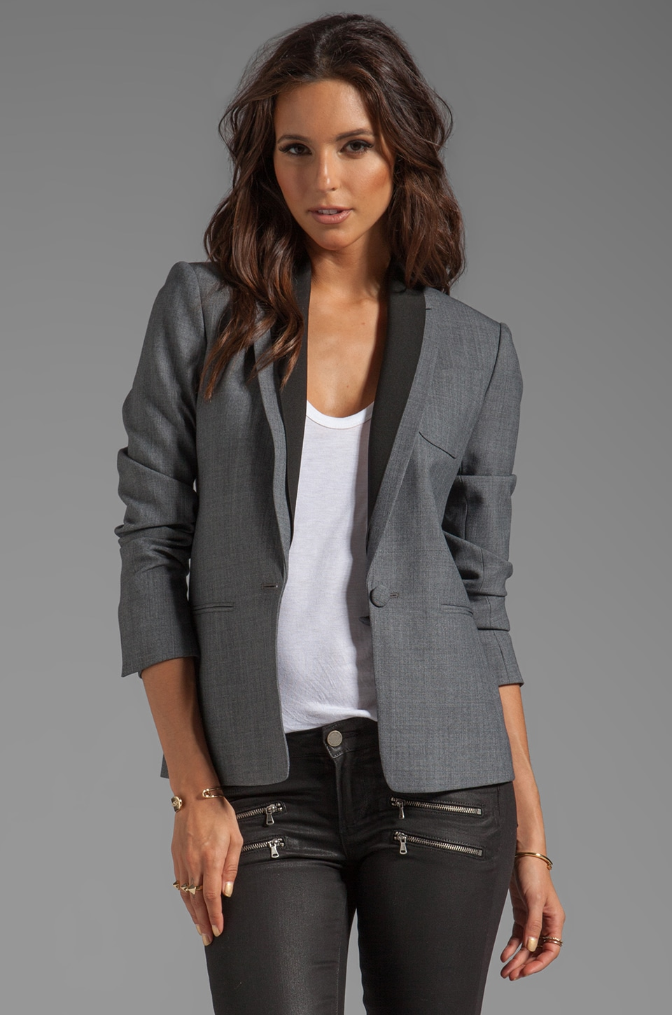 Theory Donelly Jacket with Black Rib Trim in Charcoal
