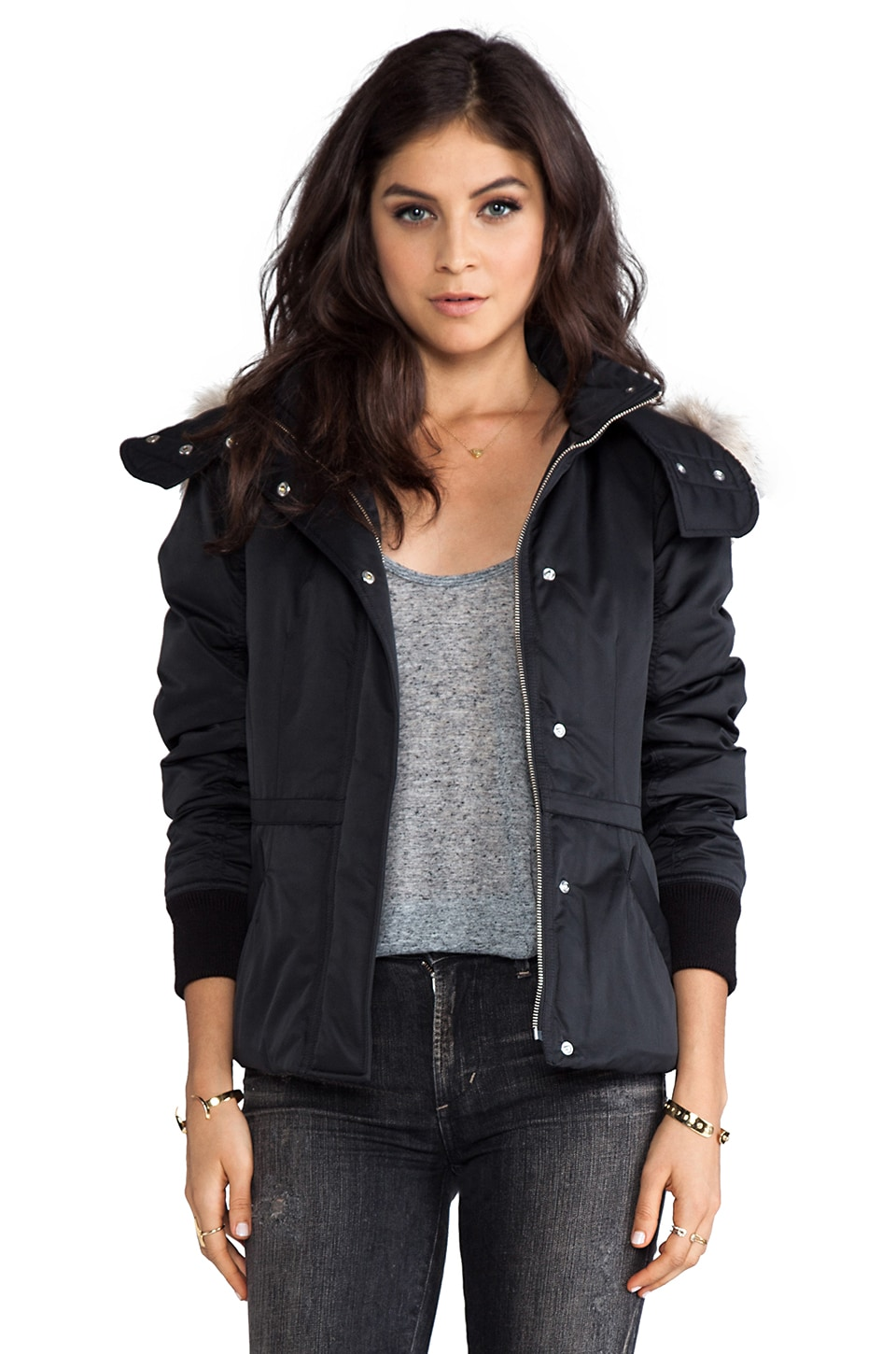 Theory Dalili Anorak with Fur Hood in Black