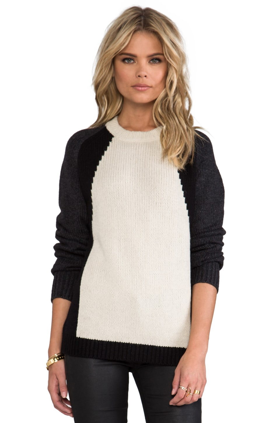 Theory Primlee Colorblock Sweater in Charcoal/Black/Ivory