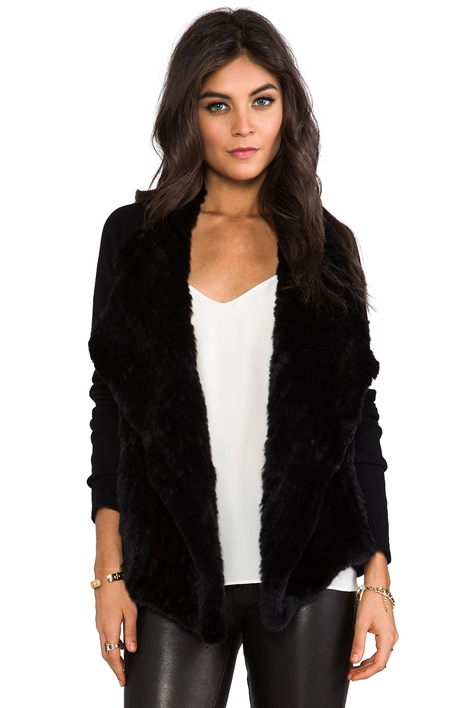 Theory Gwenivere F Jacket with Fur Front in Black