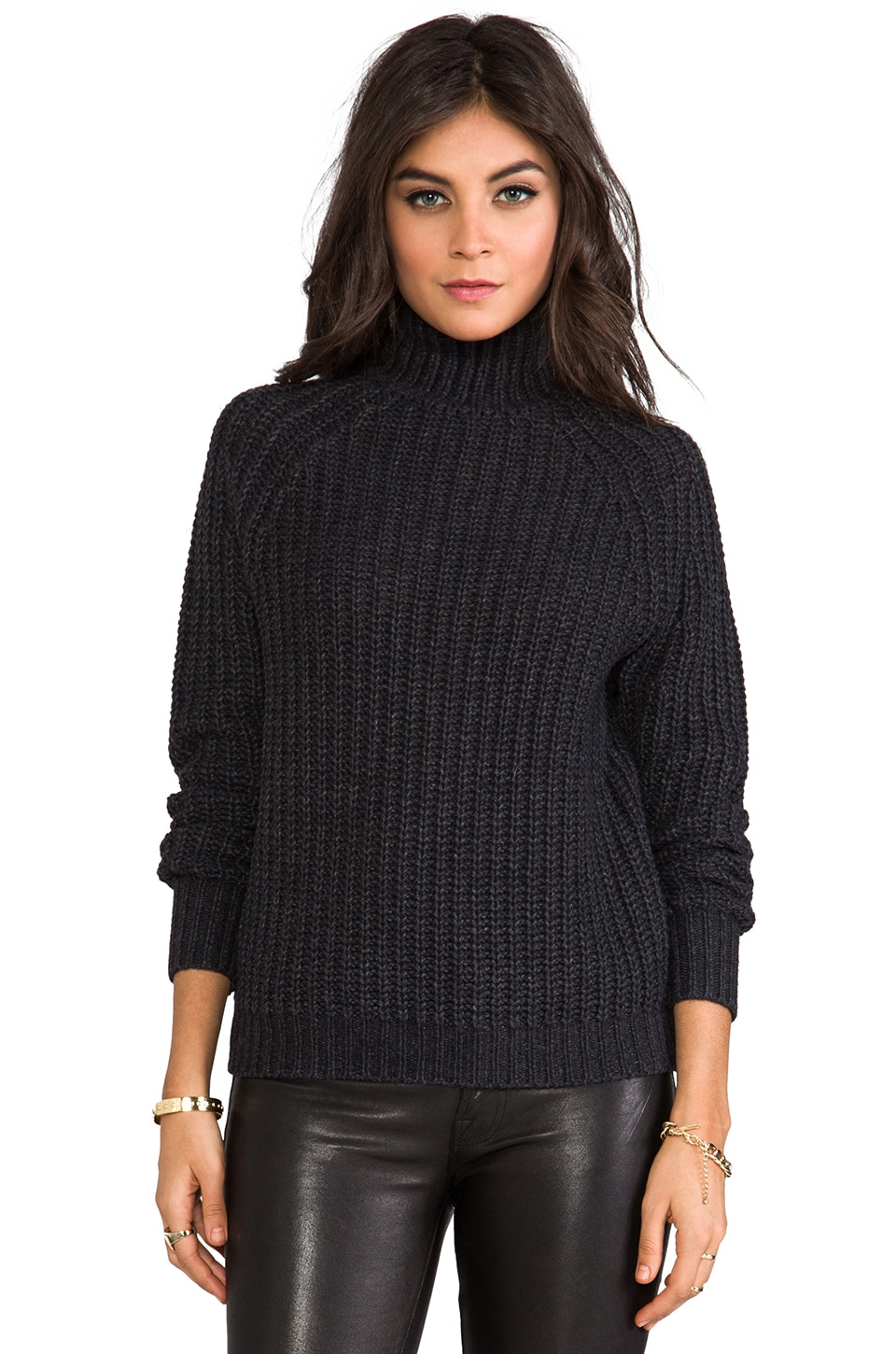 Theory Astral Mock Neck Sweater in Dark Charcoal