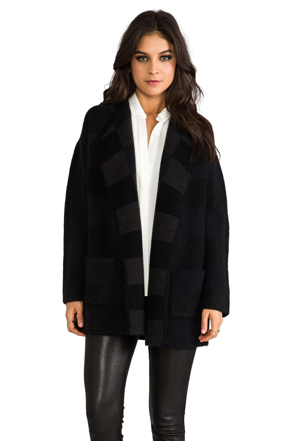 Theory Darcian P Coat in Charcoal Multi