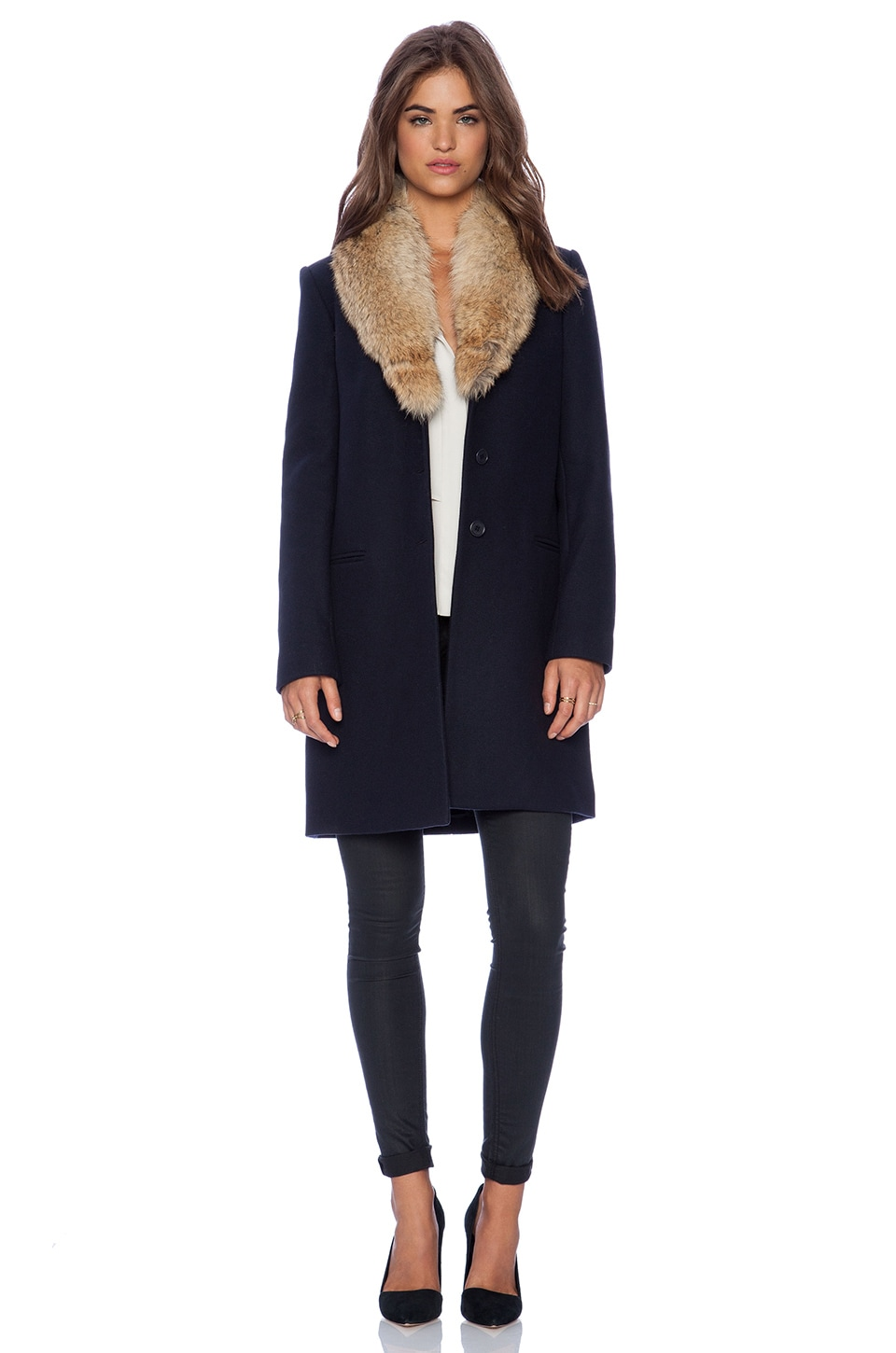 Theory Belize Coat with Coyote Fur Trim in Navy