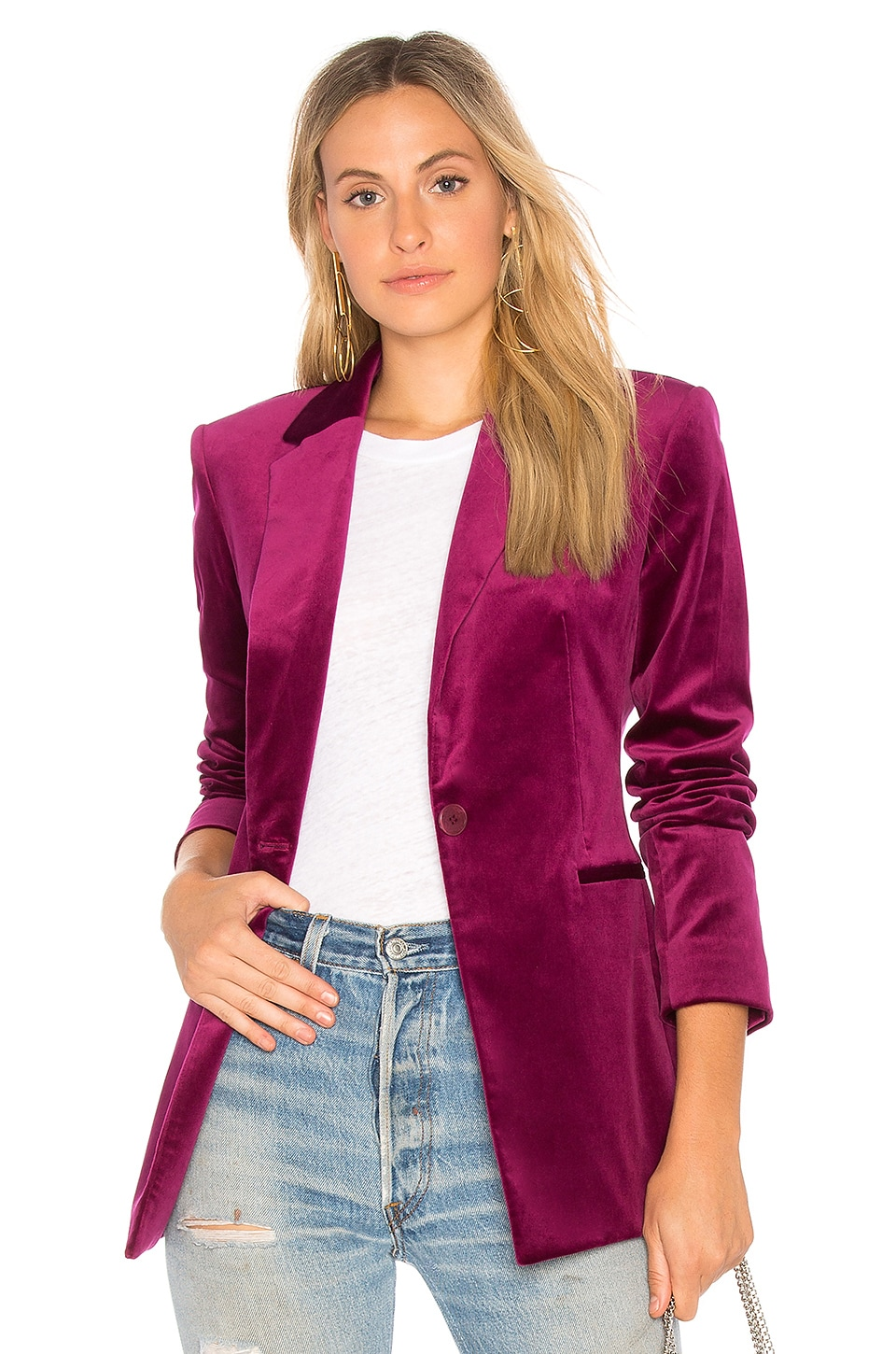 Theory Power Velvet Blazer in Electric Pink