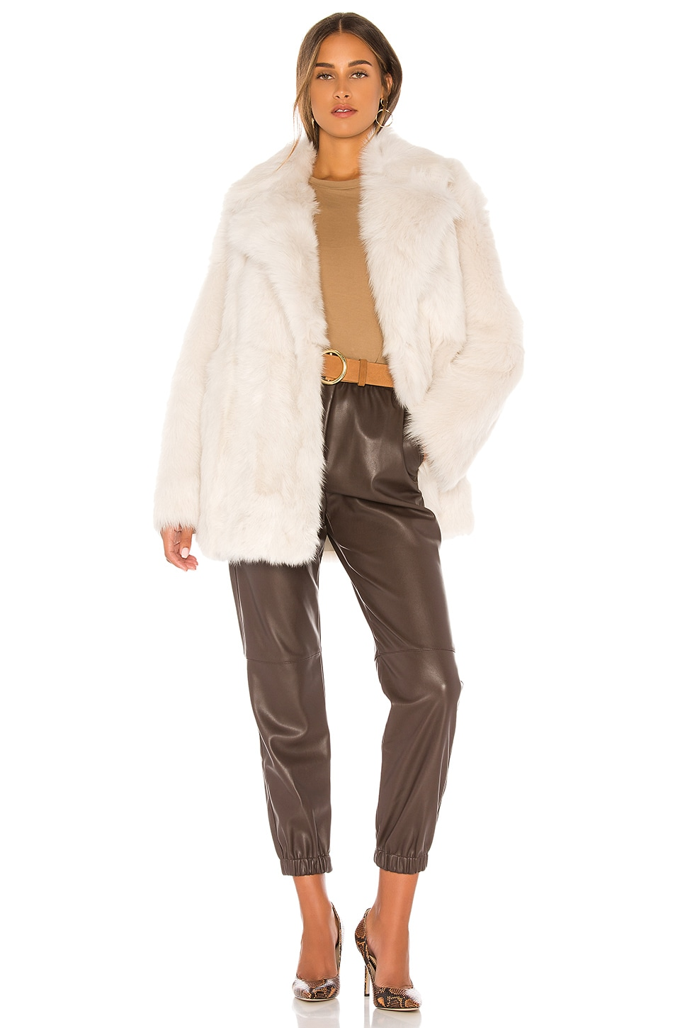 Theory Toscanca Fur Coat in Off White