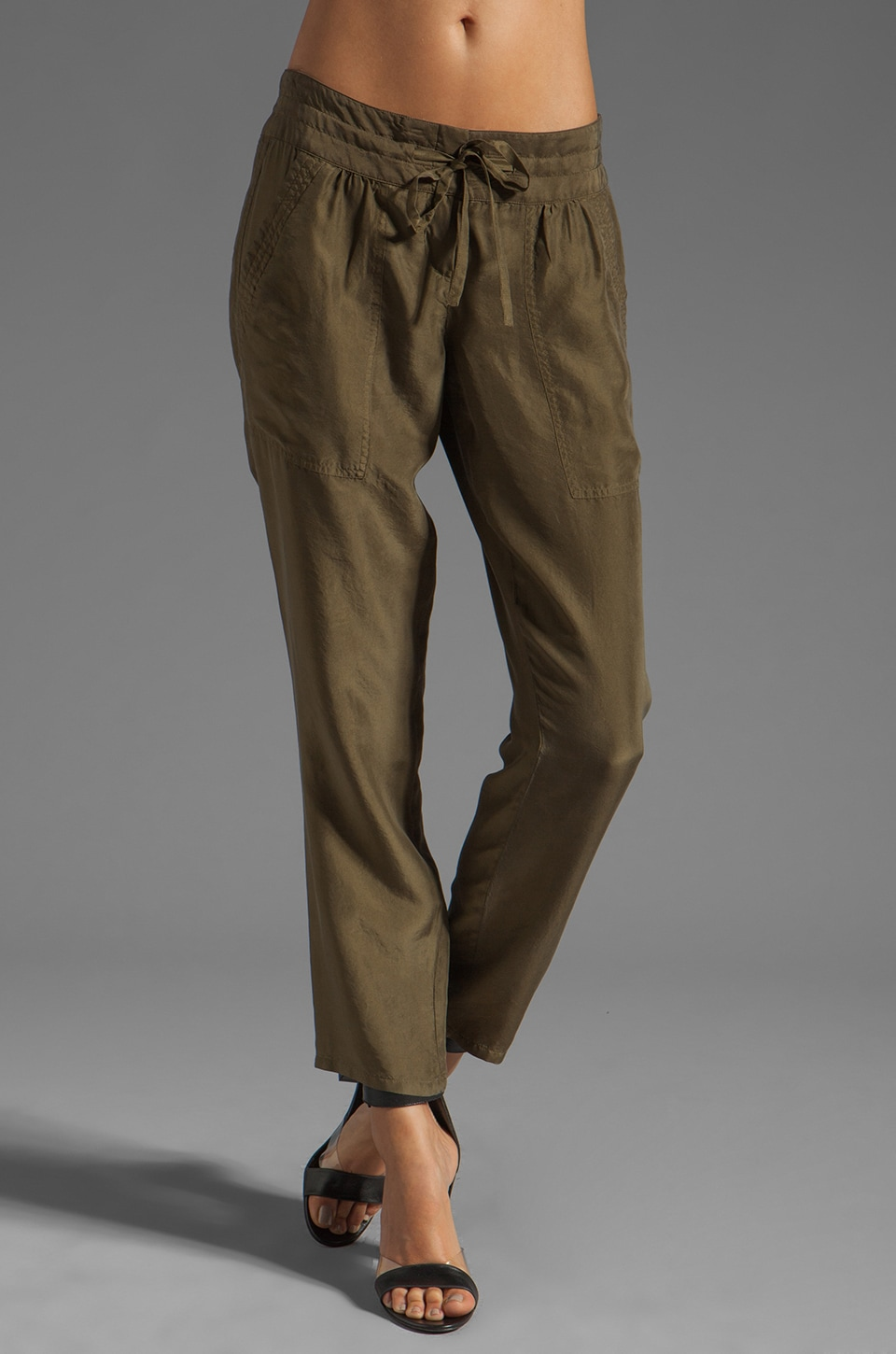 Theory Dunes Sidonia T Silk Habotai Pants in Cactus