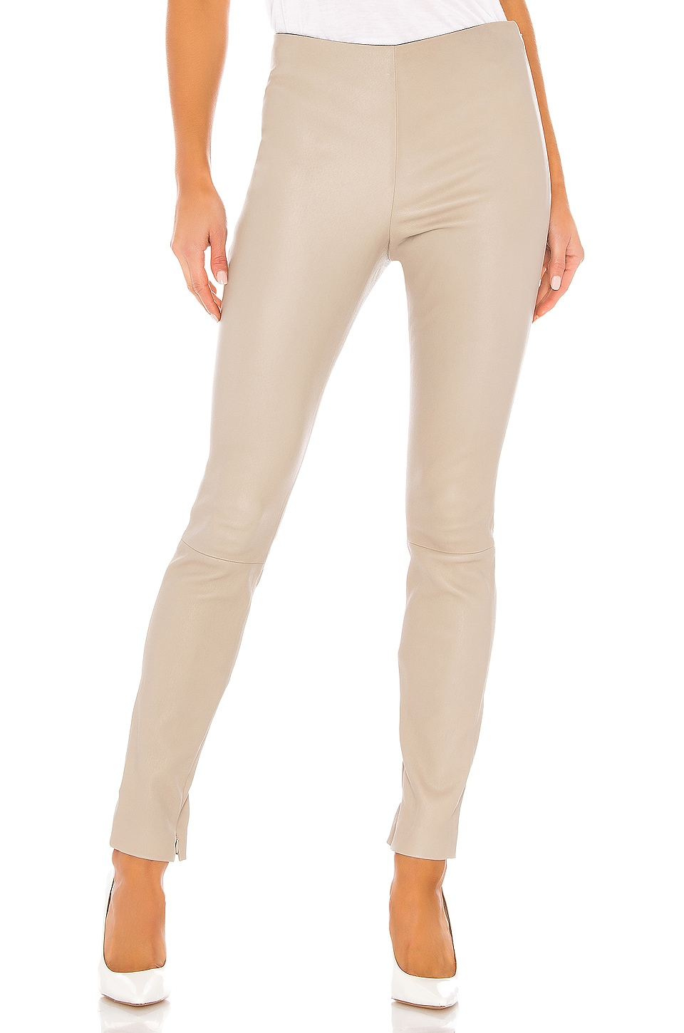 Theory Skinny Leather Legging in Light Grey Taupe
