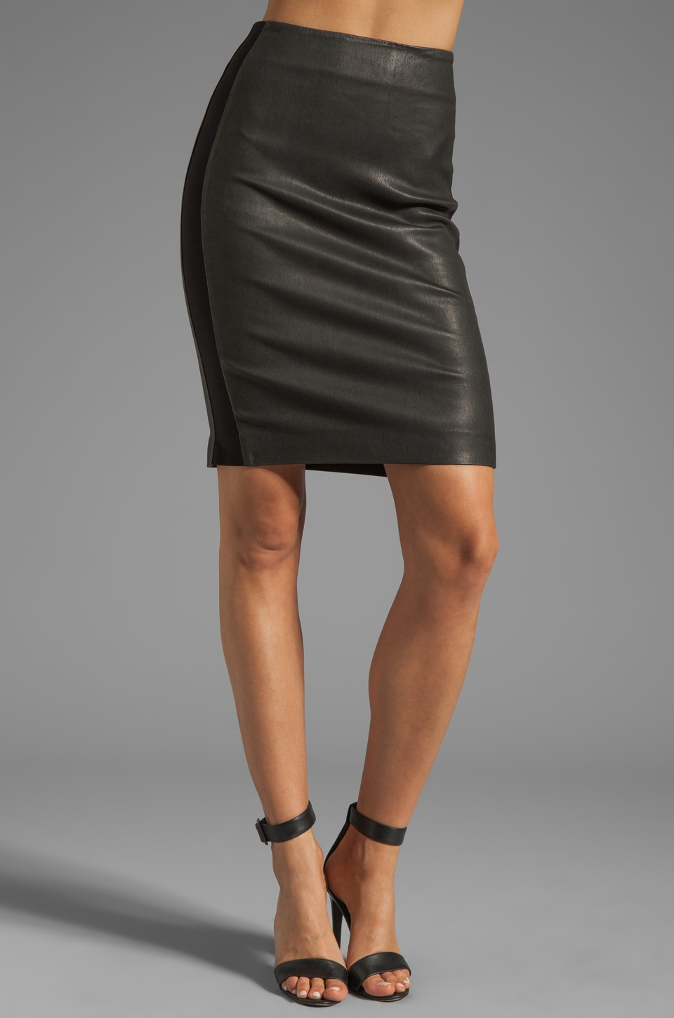 Theory Danish Brookelle Leather Skirt in Black