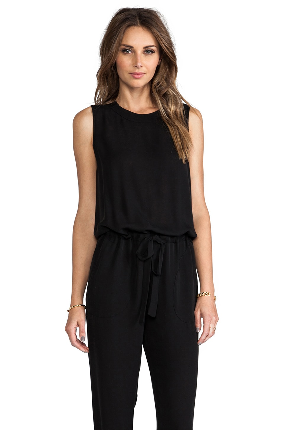 Theory Double Georgette Hendrina Jumpsuit in Black