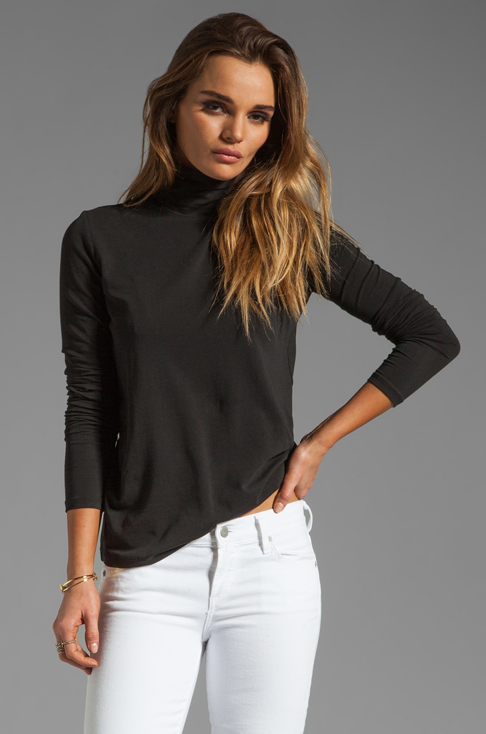 Theory Encase Kloria Long Sleeve Turtleneck Tee in Black
