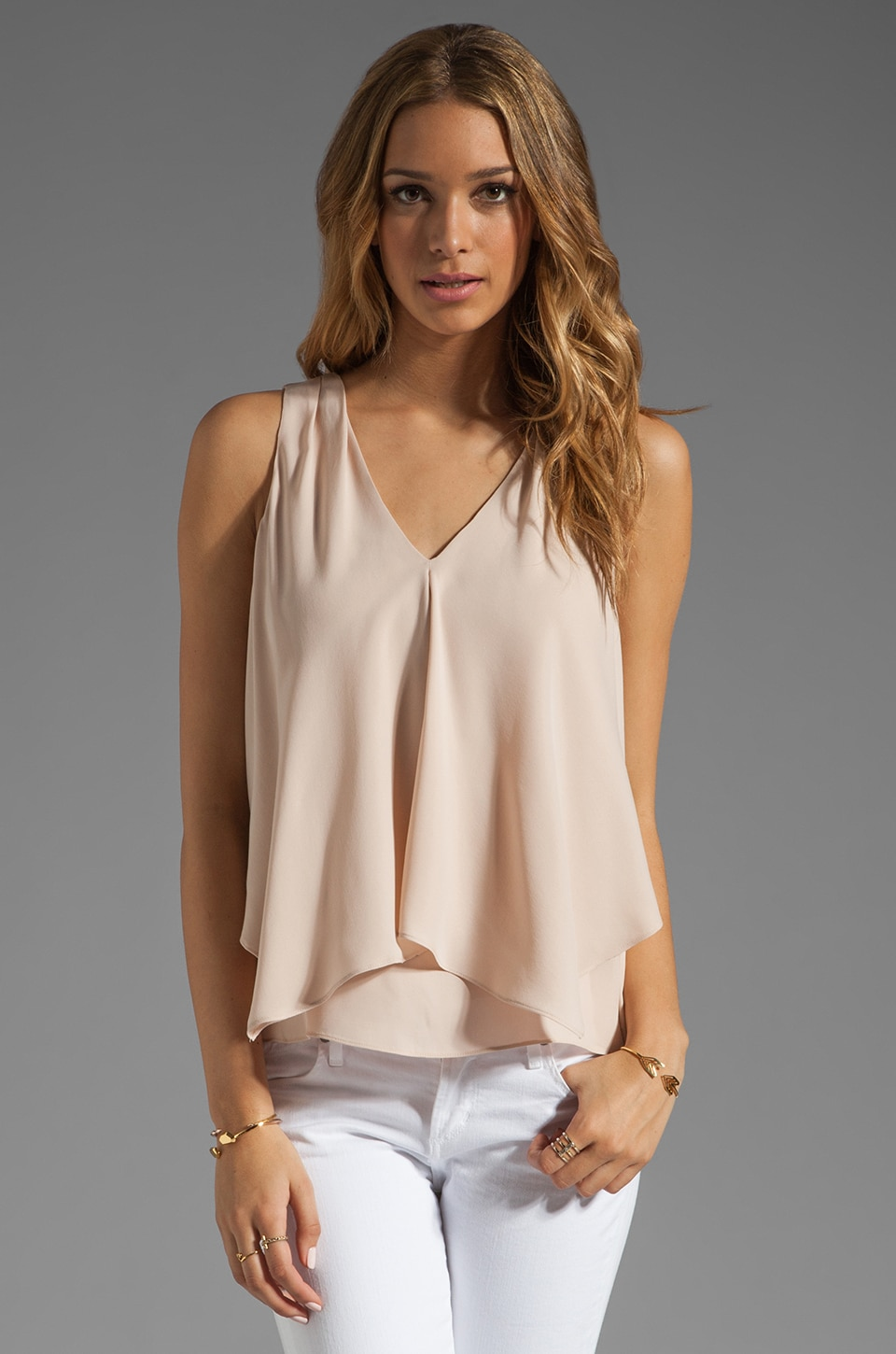 Theory Double Georgette Jantine Top in Pink Nude