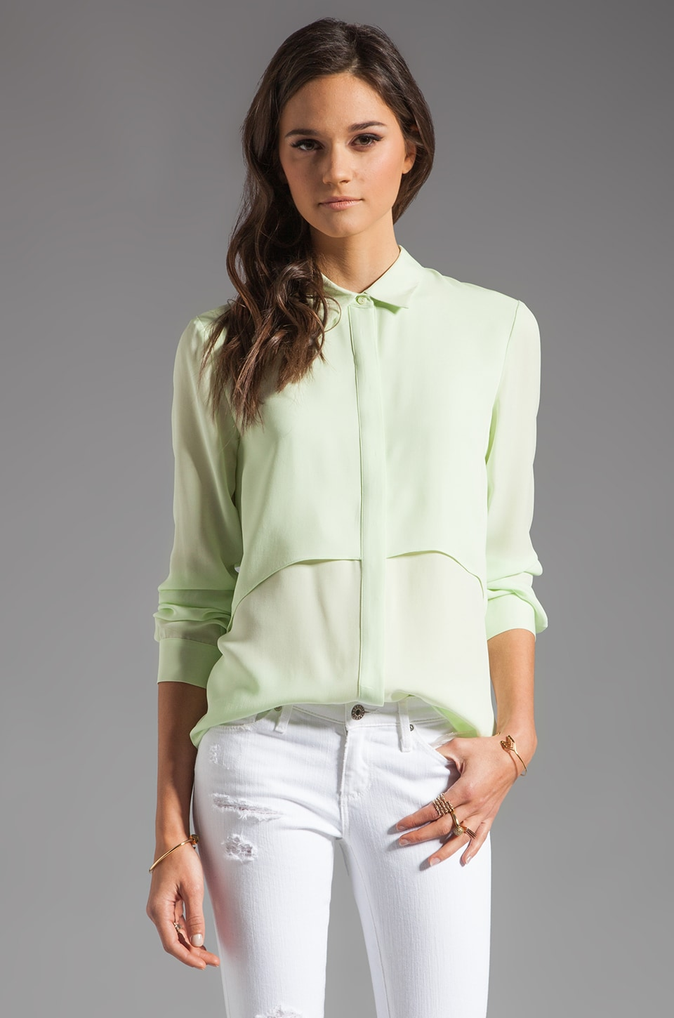 Theory Double Georgette Rosita Blouse in Light Green