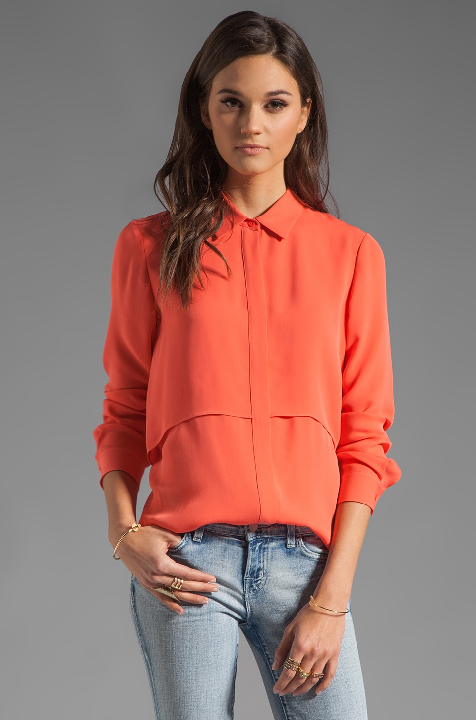 Theory Double Georgette Rosita Blouse in Dark Melon