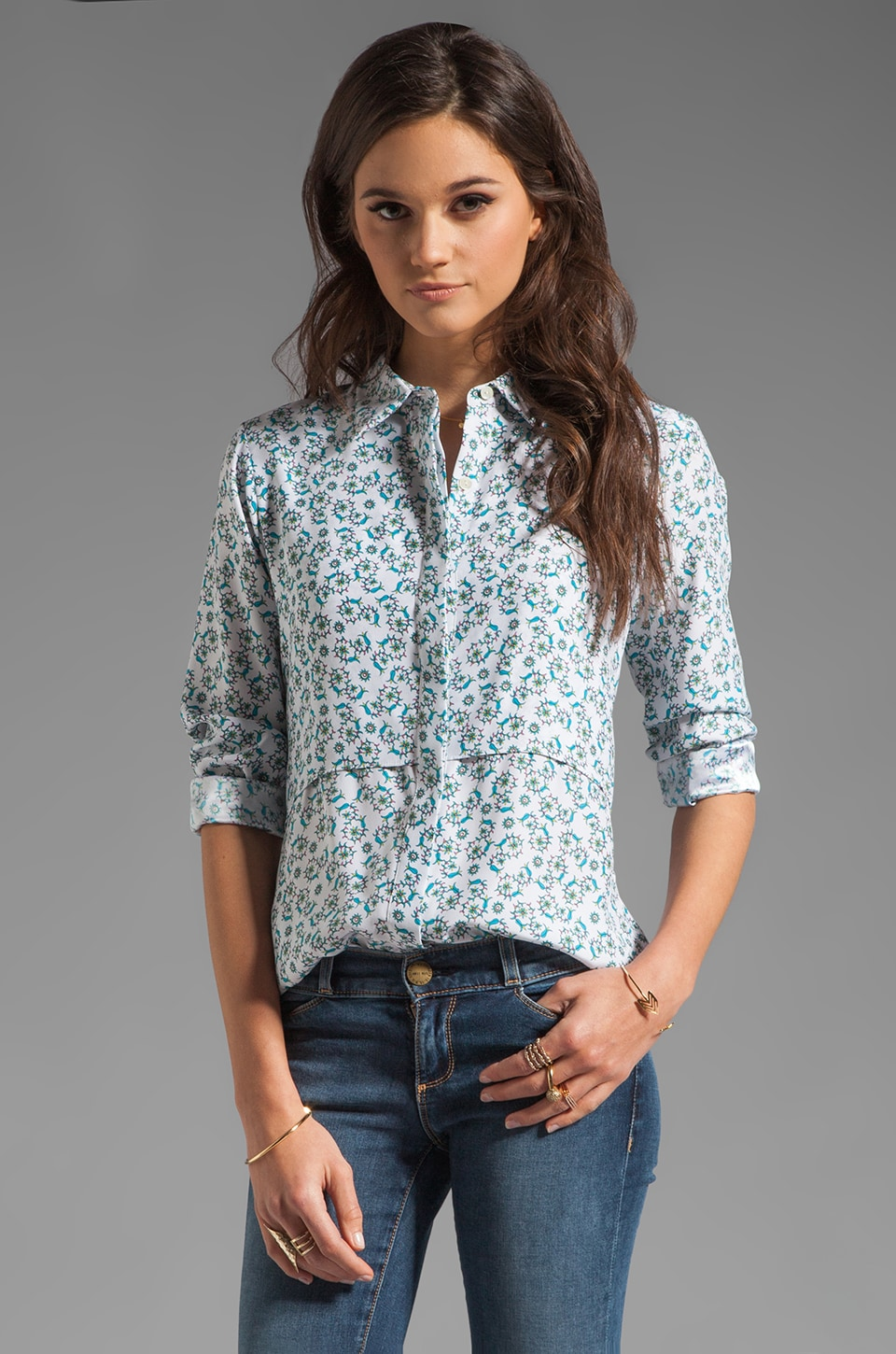 Theory Pondicherry Rosita Silk Blouse in Aqua Multi