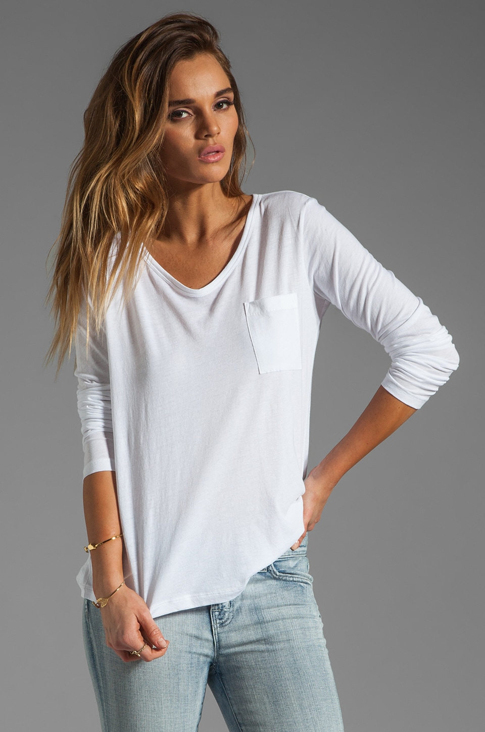 Theory Electrify Nattona Long Sleeve Pocket Tee in White