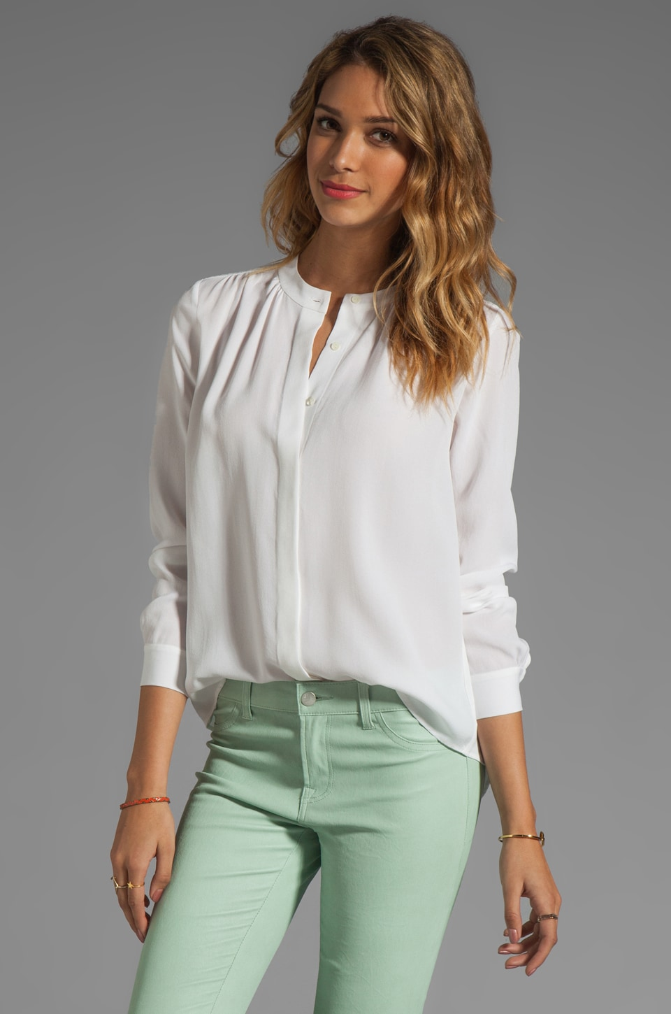 Theory Saleya Latavia Silk Crepe Blouse in White