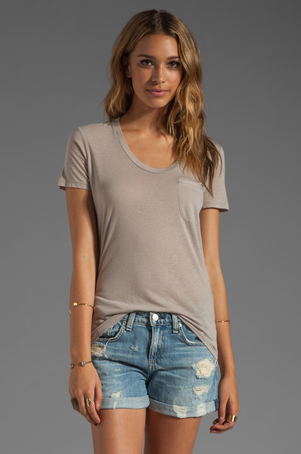 Theory Awing Rovita Jersey Tee in Grey