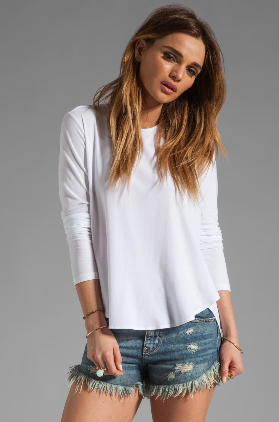 Theory Ribbed Viscose Alania B Long Sleeve Tee in White