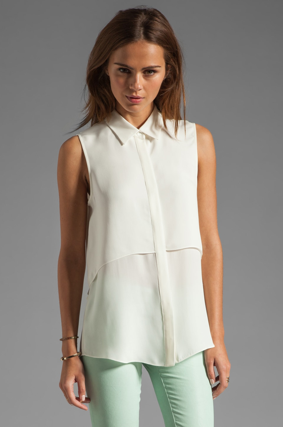 Theory Double GGT Rosae Silk Georgette Top in White