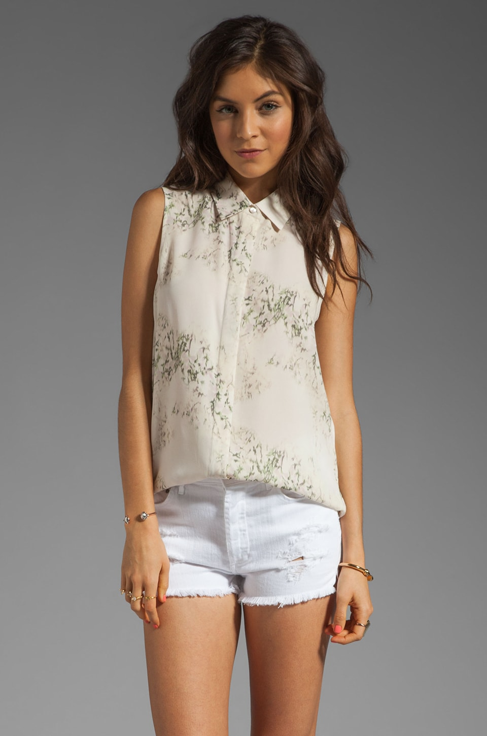 Theory Cherry Blossom Print Earhart Top in Ivory