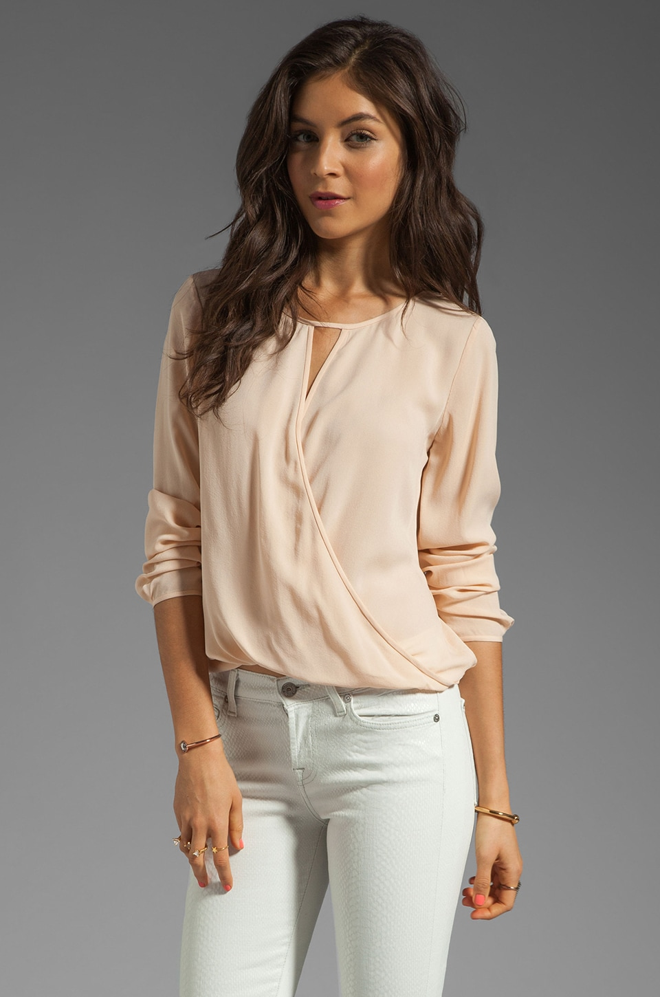 Theory Saleya Aija Silk Crepe Blouse in Peach Nude