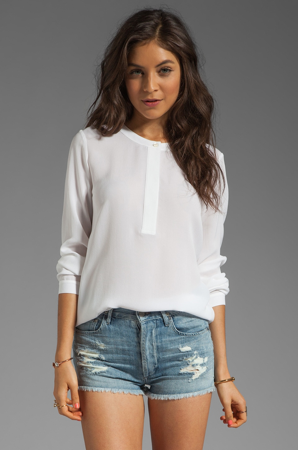 Theory Saleya Mavis Silk Crepe Blouse in White