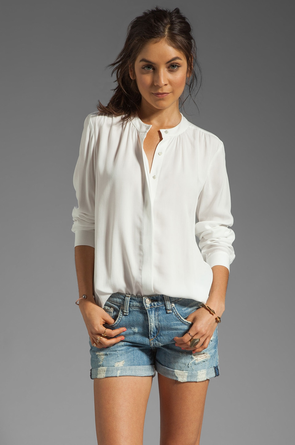 Theory Beausoleil Latavia Rayon Blouse in White