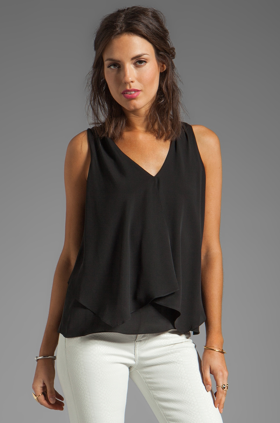 Theory Jantine Silk Tank in Black