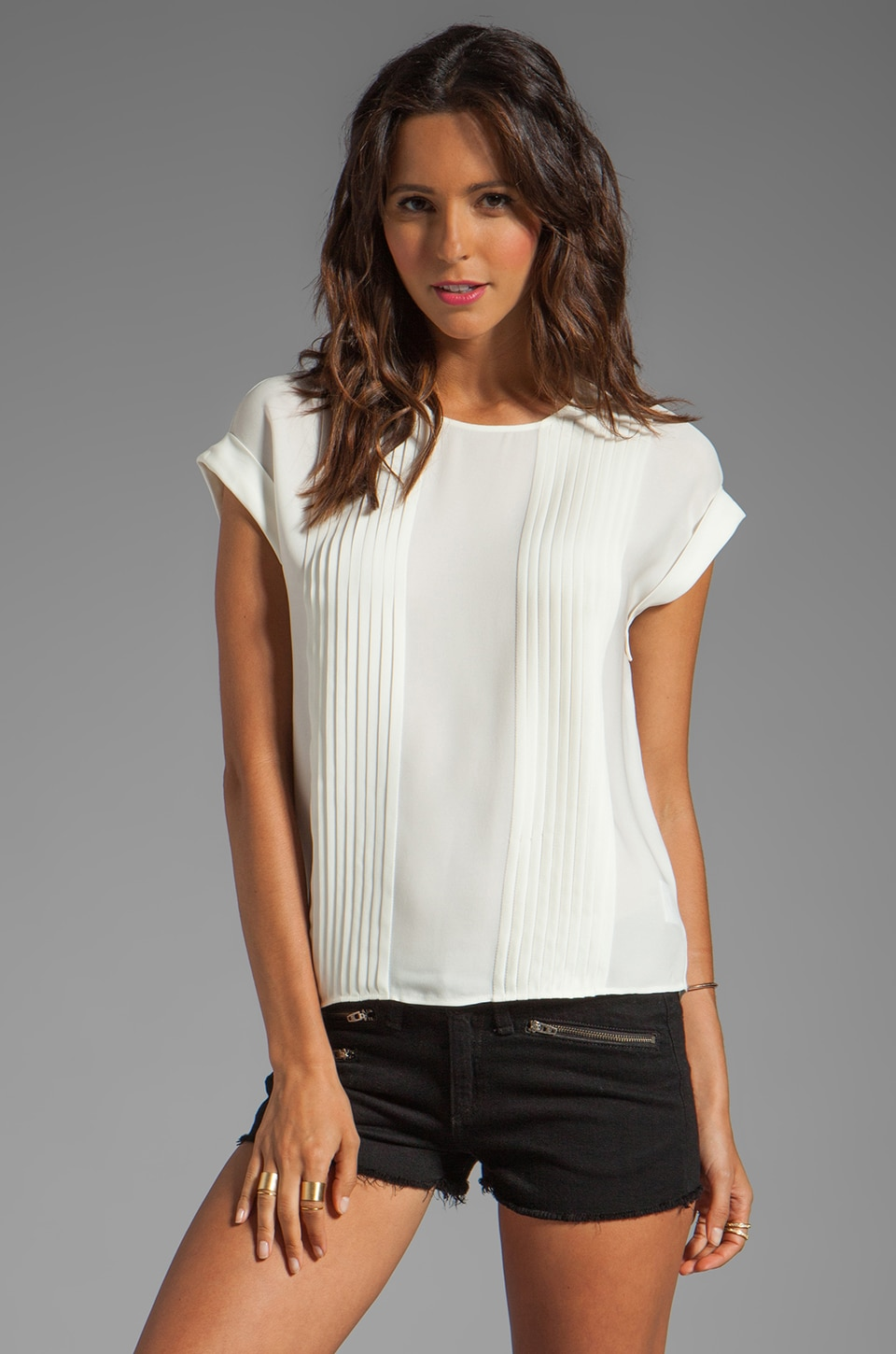 Theory Sellida Silk Blouse in White