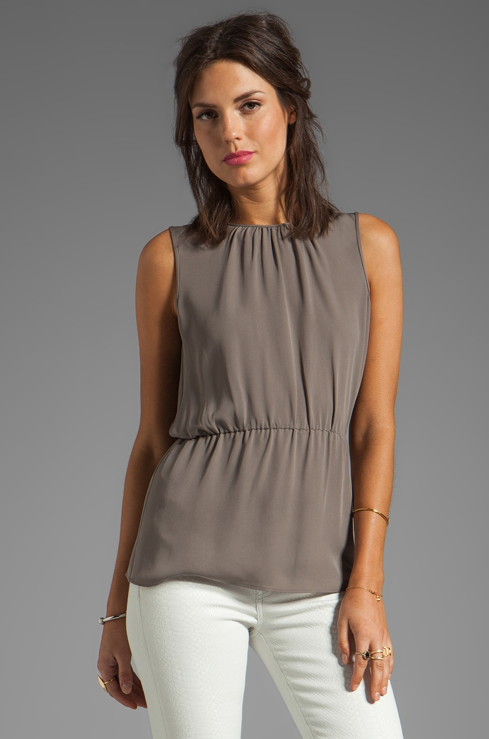 Theory Jethria Silk Tank in Stormy Grey