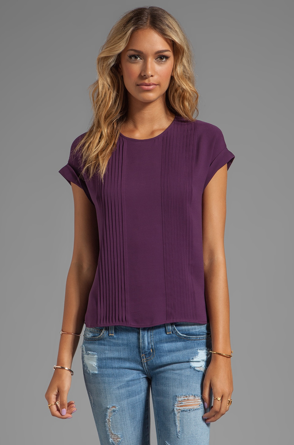 Theory Sellida Silk Blouse in Elderberry