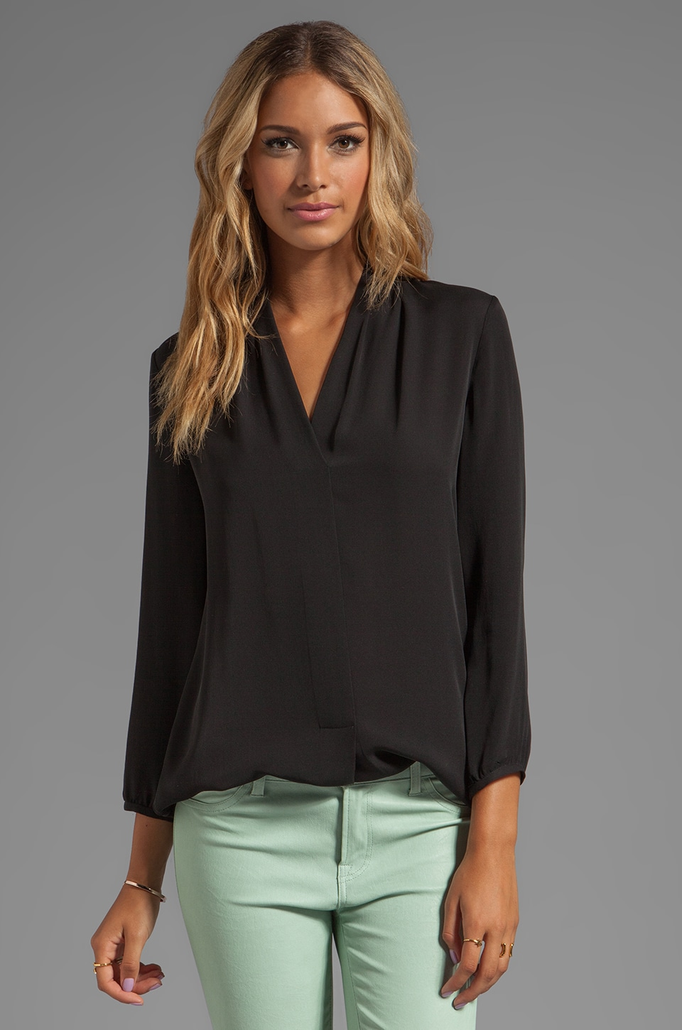 Theory Helona Silk Blouse in Black