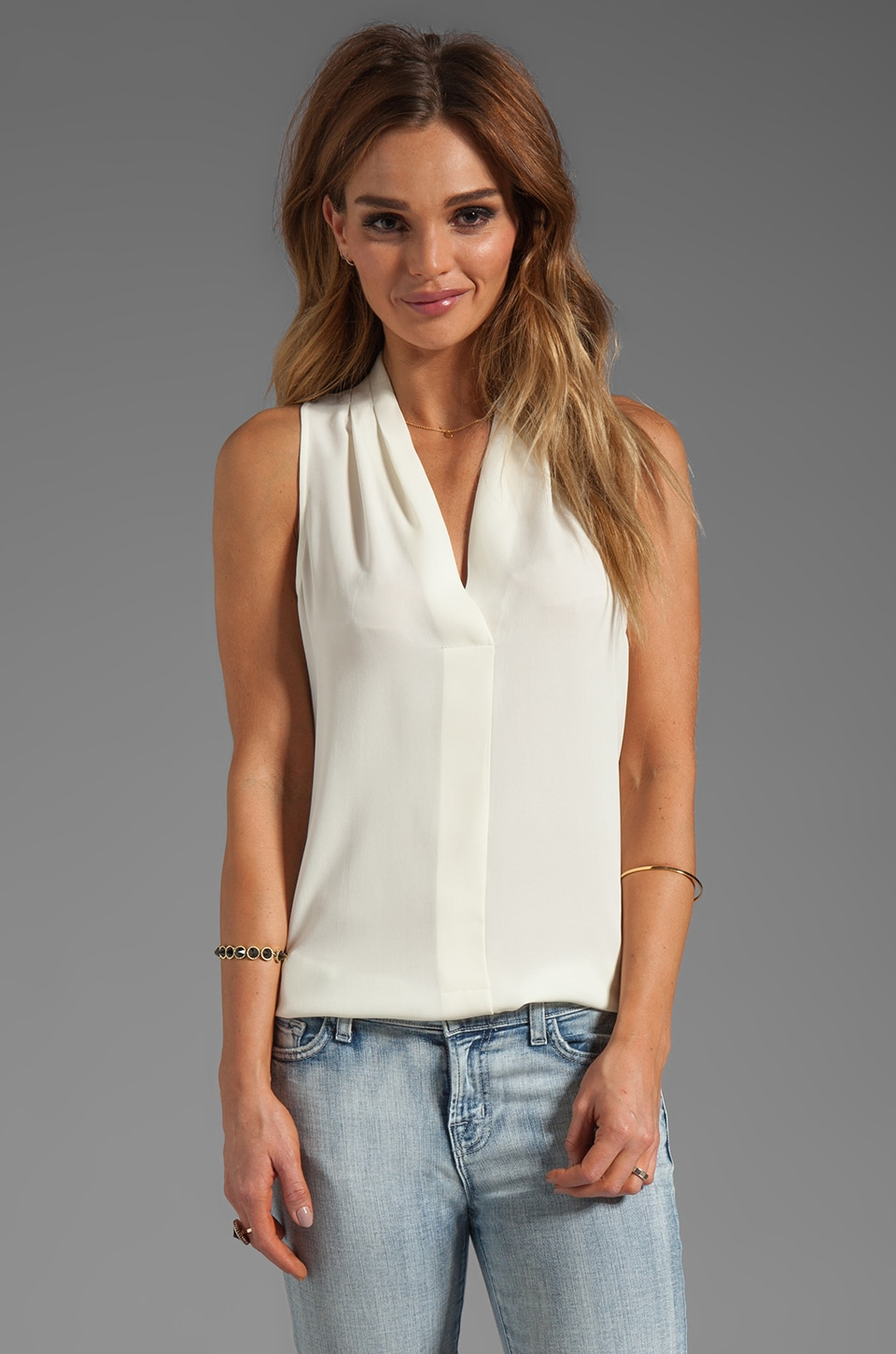Theory Hylin Silk Tank in Ivory