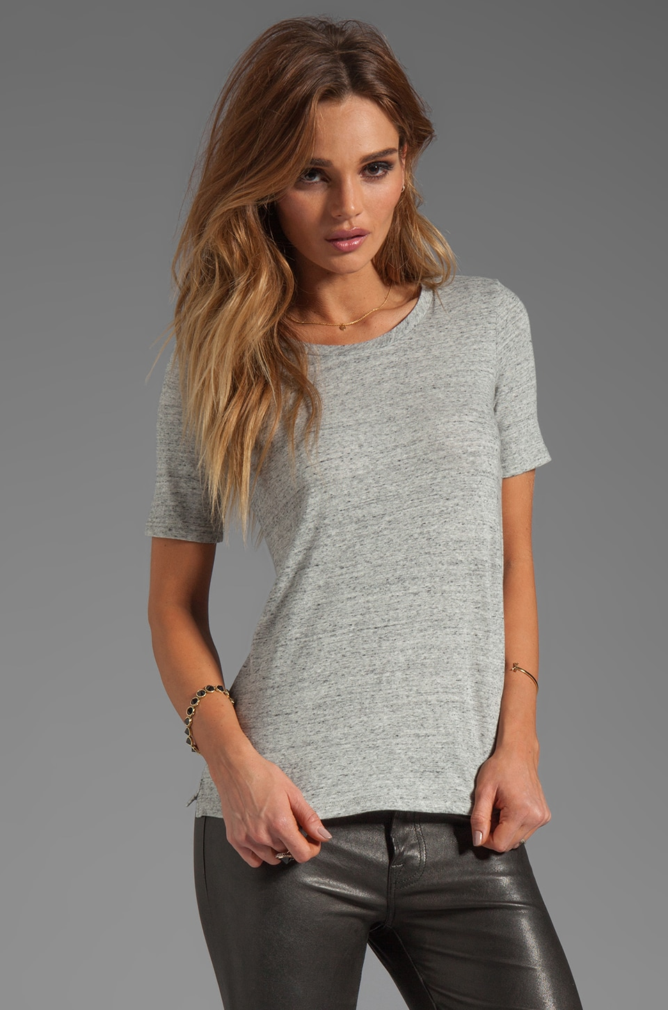 Theory Bowis Tee in Heather Grey
