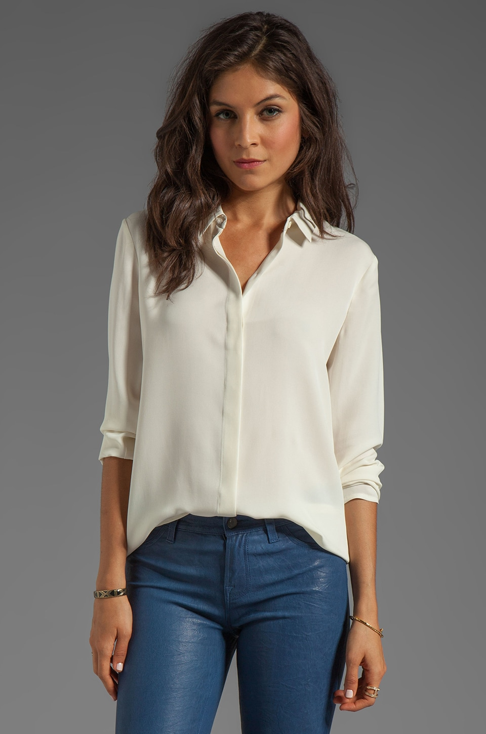 Theory Simra Silk Shirt in Ivory