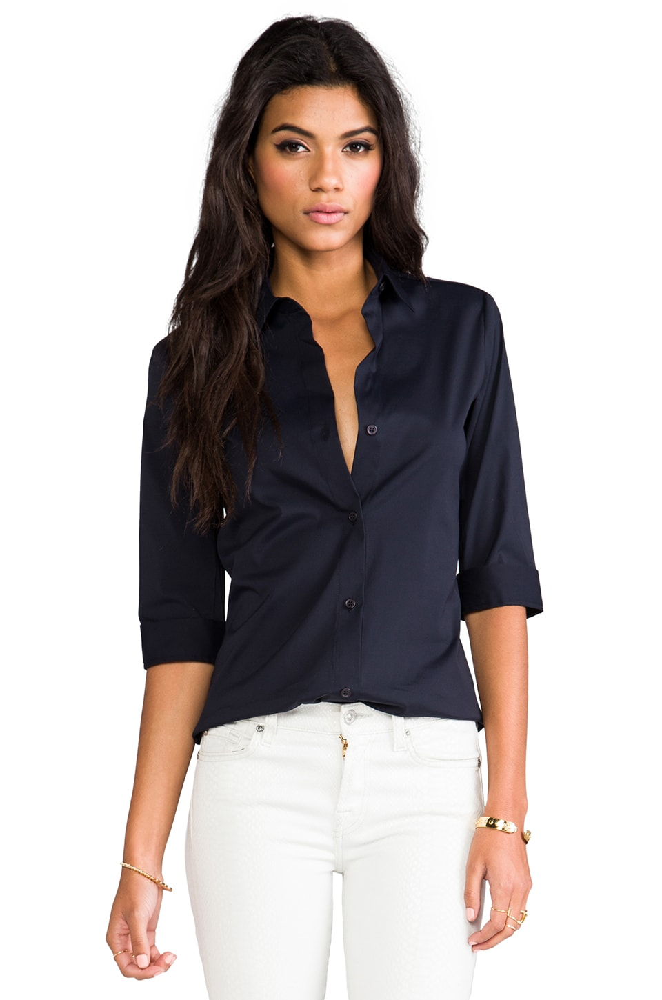 Theory Dallisa Short-Sleeve Shirt in Eclipse