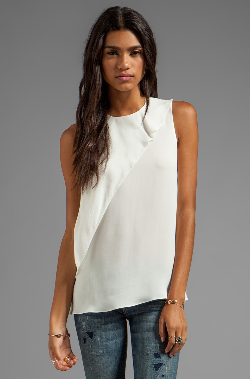 Theory Charelle Silk Top in White