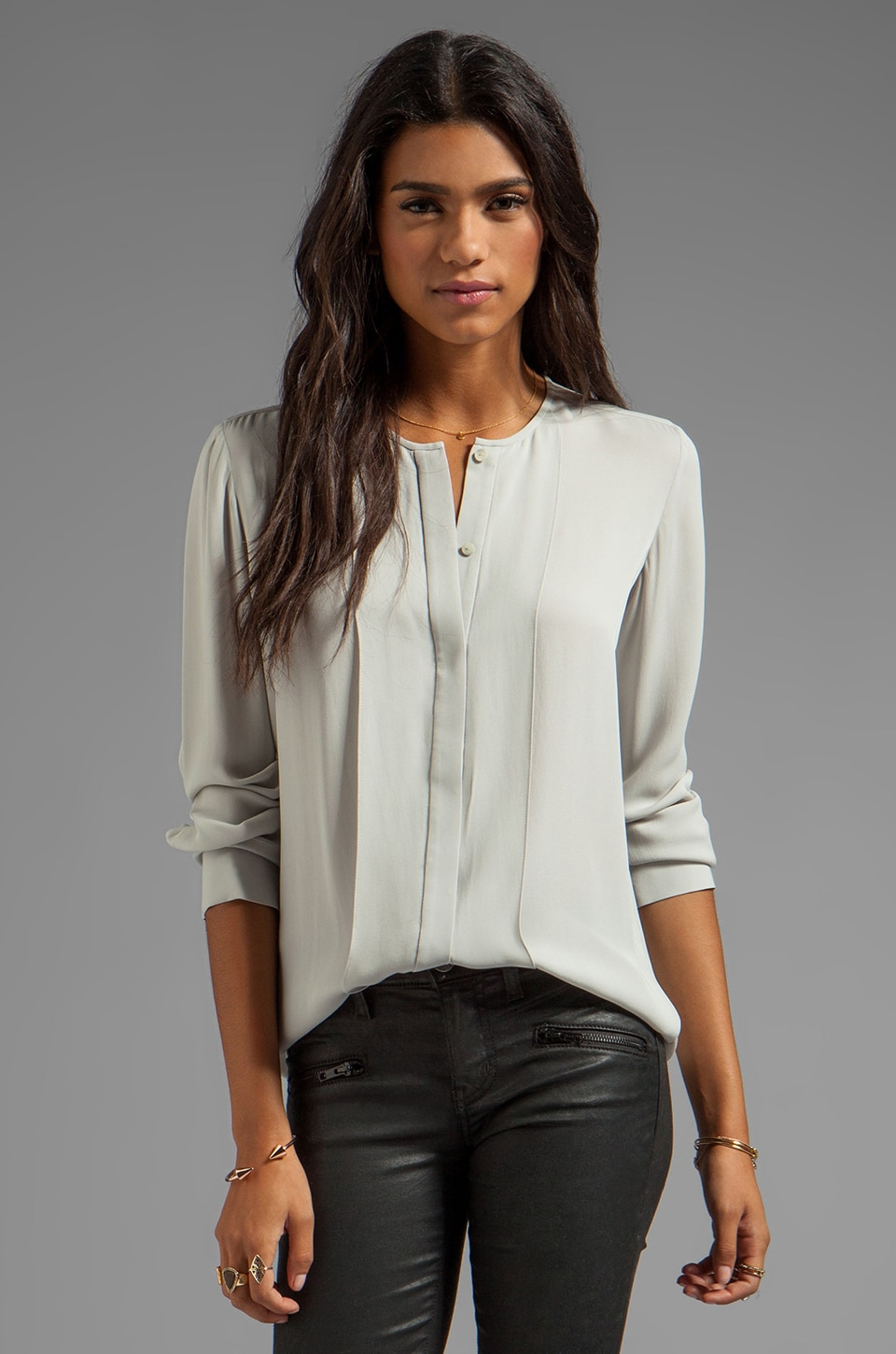 Theory Edera Silk Blouse in Frosted Grey