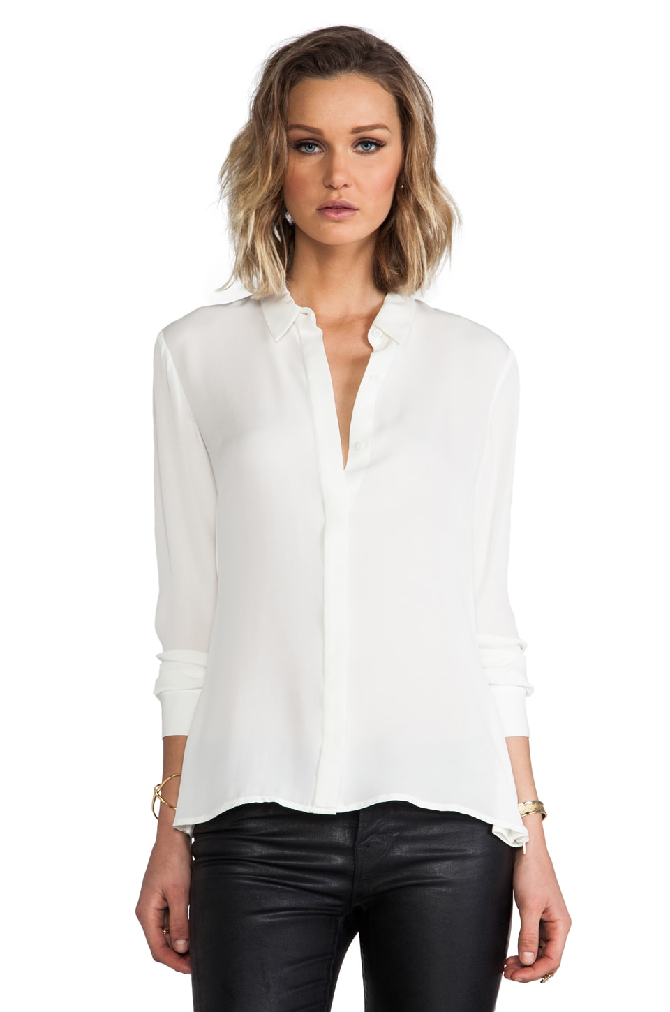 Theory Driya Silk Blouse in White