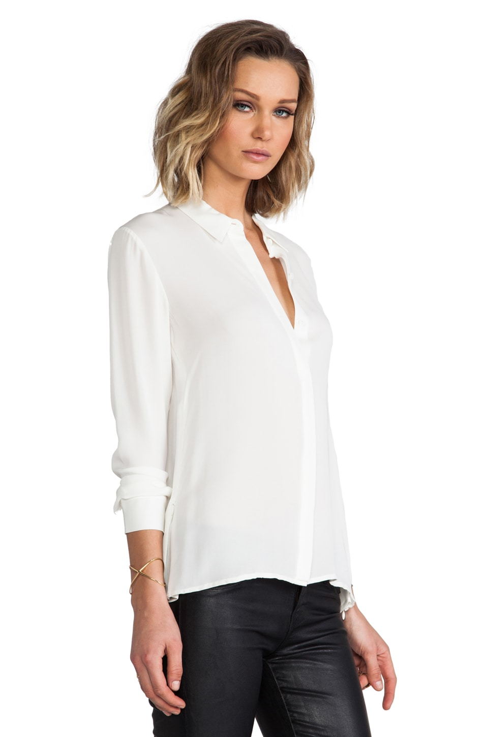 Theory Driya Silk Blouse in White | REVOLVE