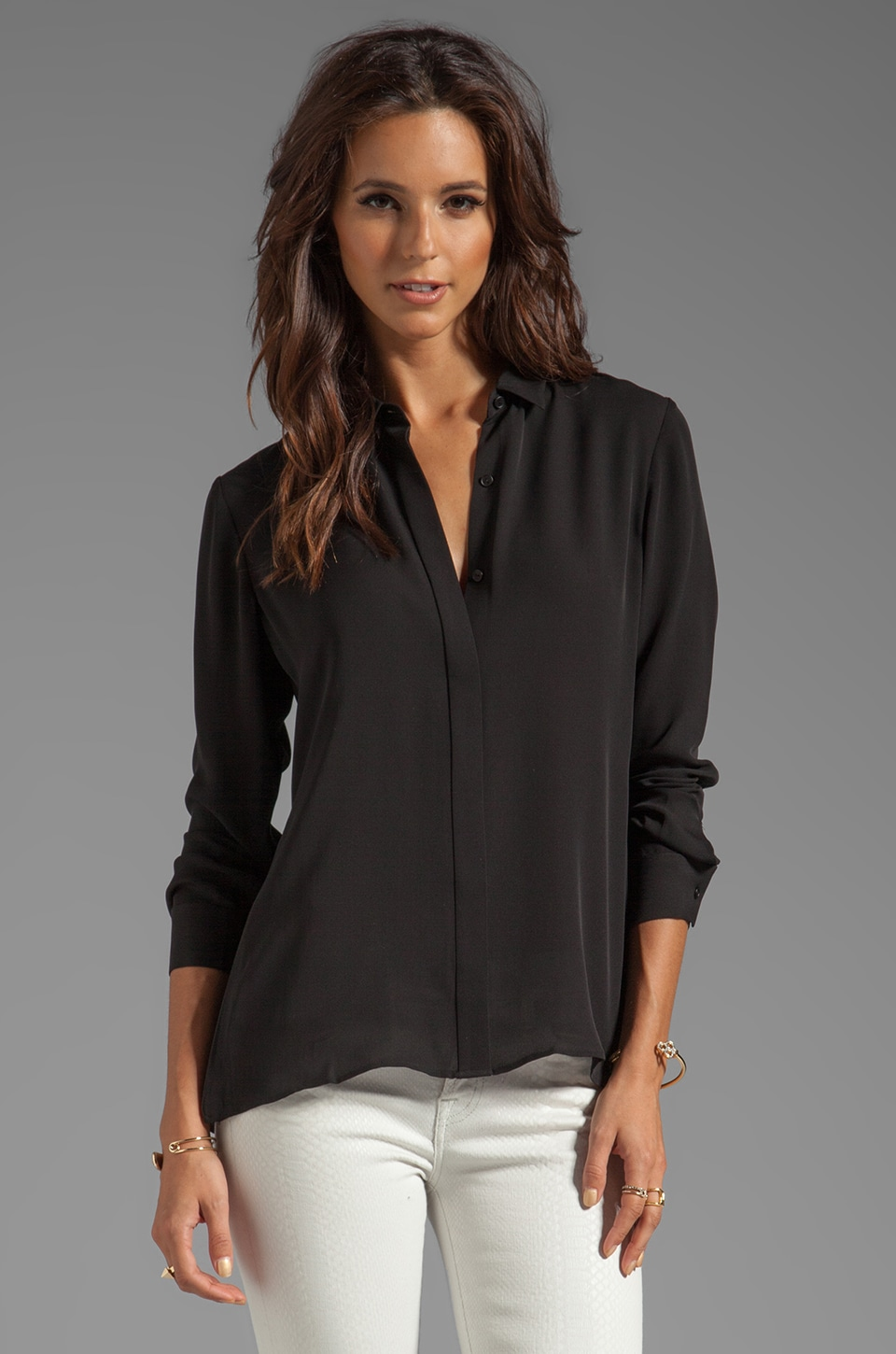 Theory Driya Silk Blouse in Black