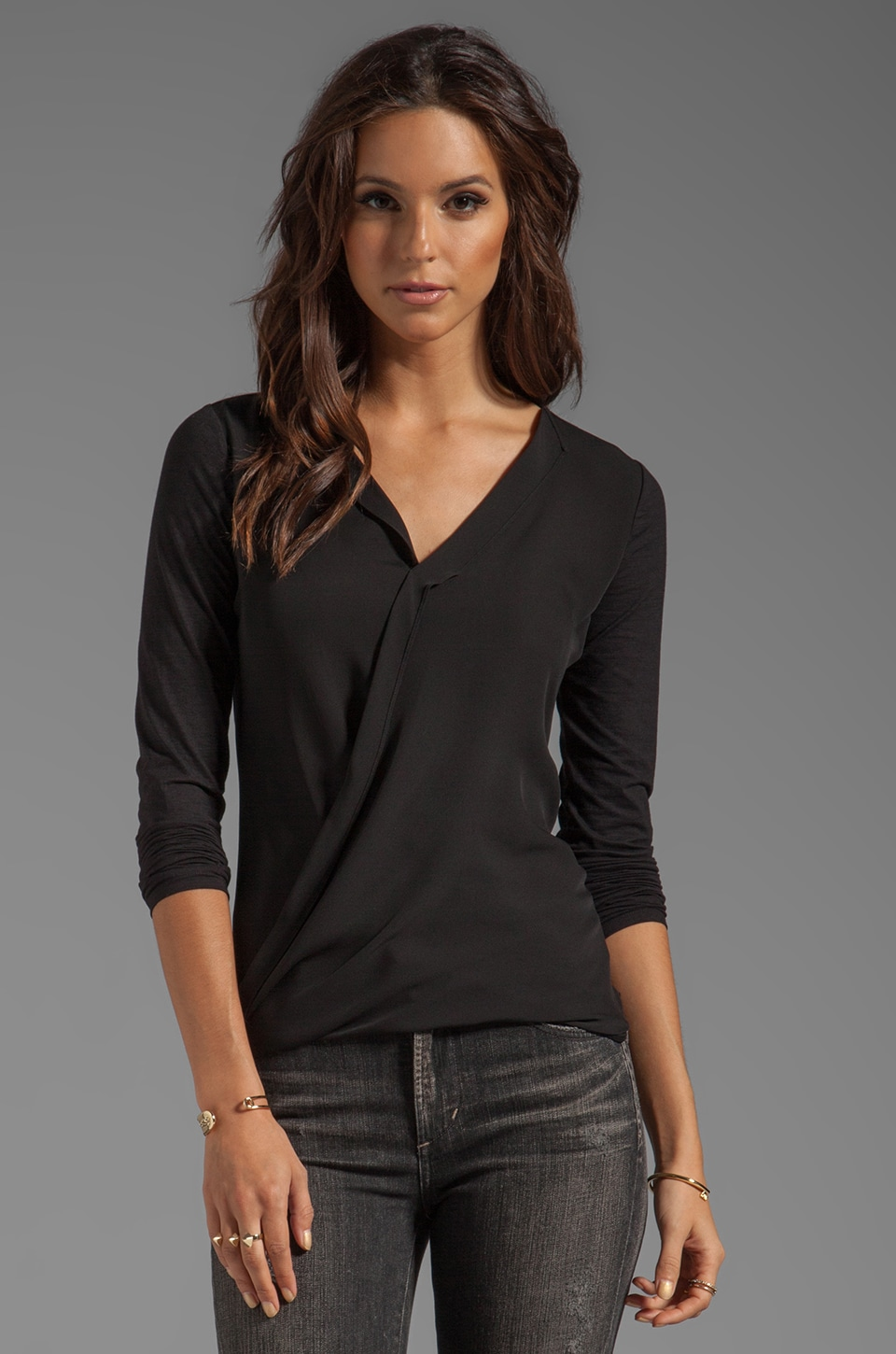 Theory Dariya Long Sleeve Blouse in Black