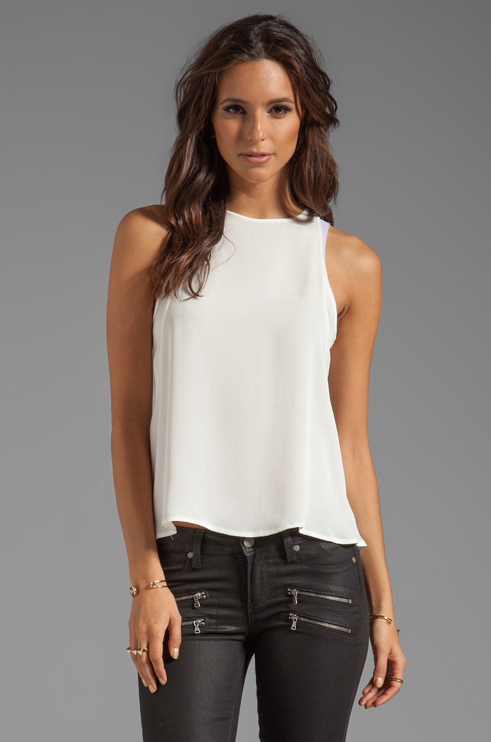 Theory Braiden Double Georgette Tank in White