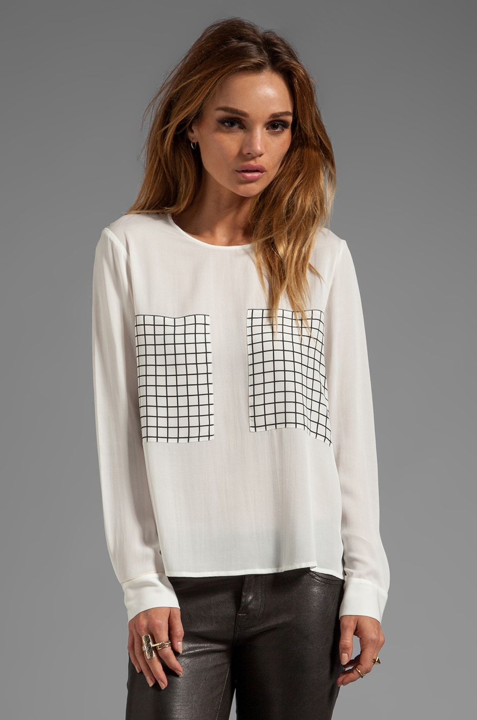 Theory Mariya Crossgrid Blouse in White/Black