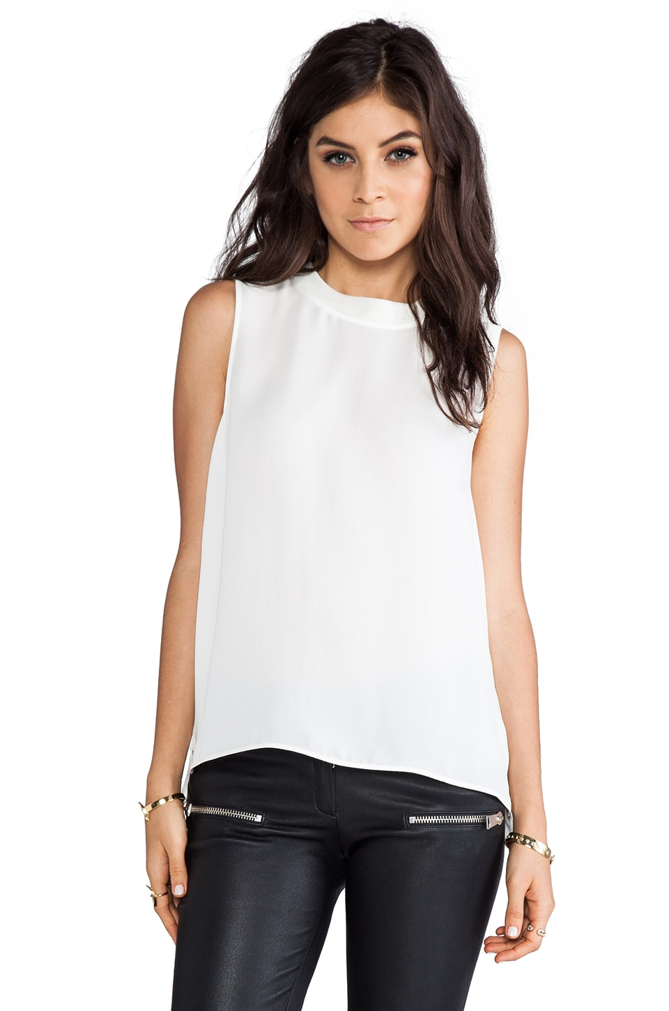 Theory Klimora Silk Tank in White