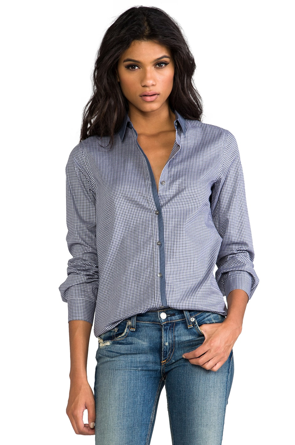 Theory Yasa C Chambray Shirt in Grey/Navy