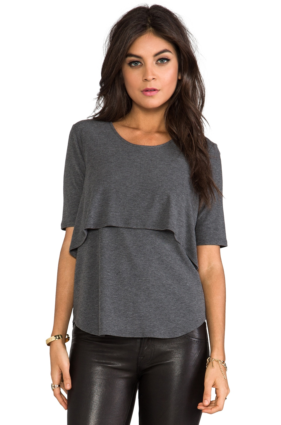Theory Layered Tee in Charcoal Melange