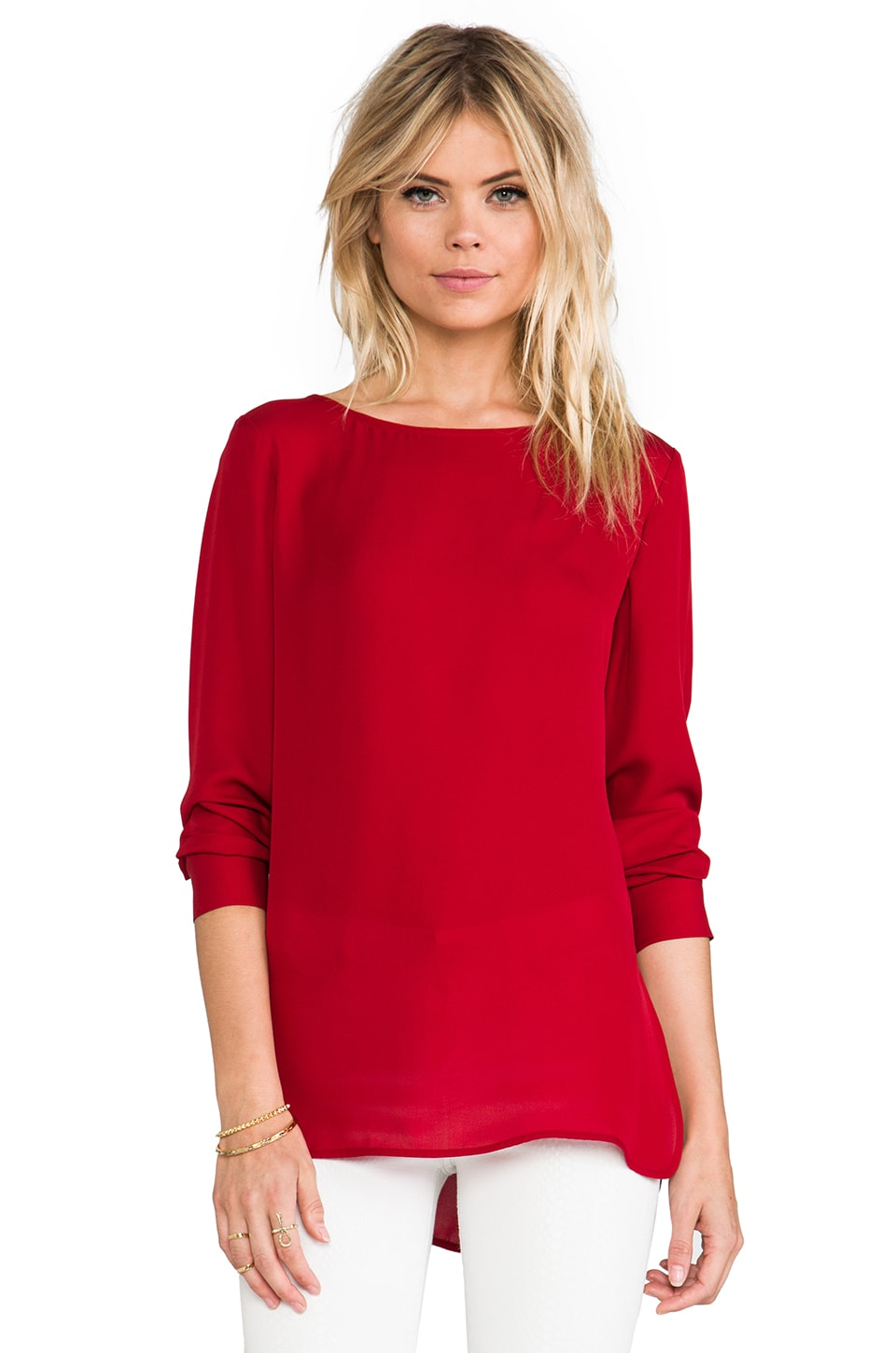 Theory Double Georgette Toska Top in Fiery Red