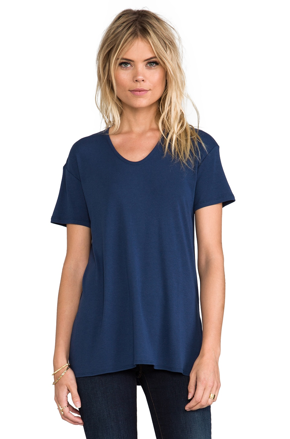 Theory Daga SS Ribbed Viscose Tee in Pitch Blue