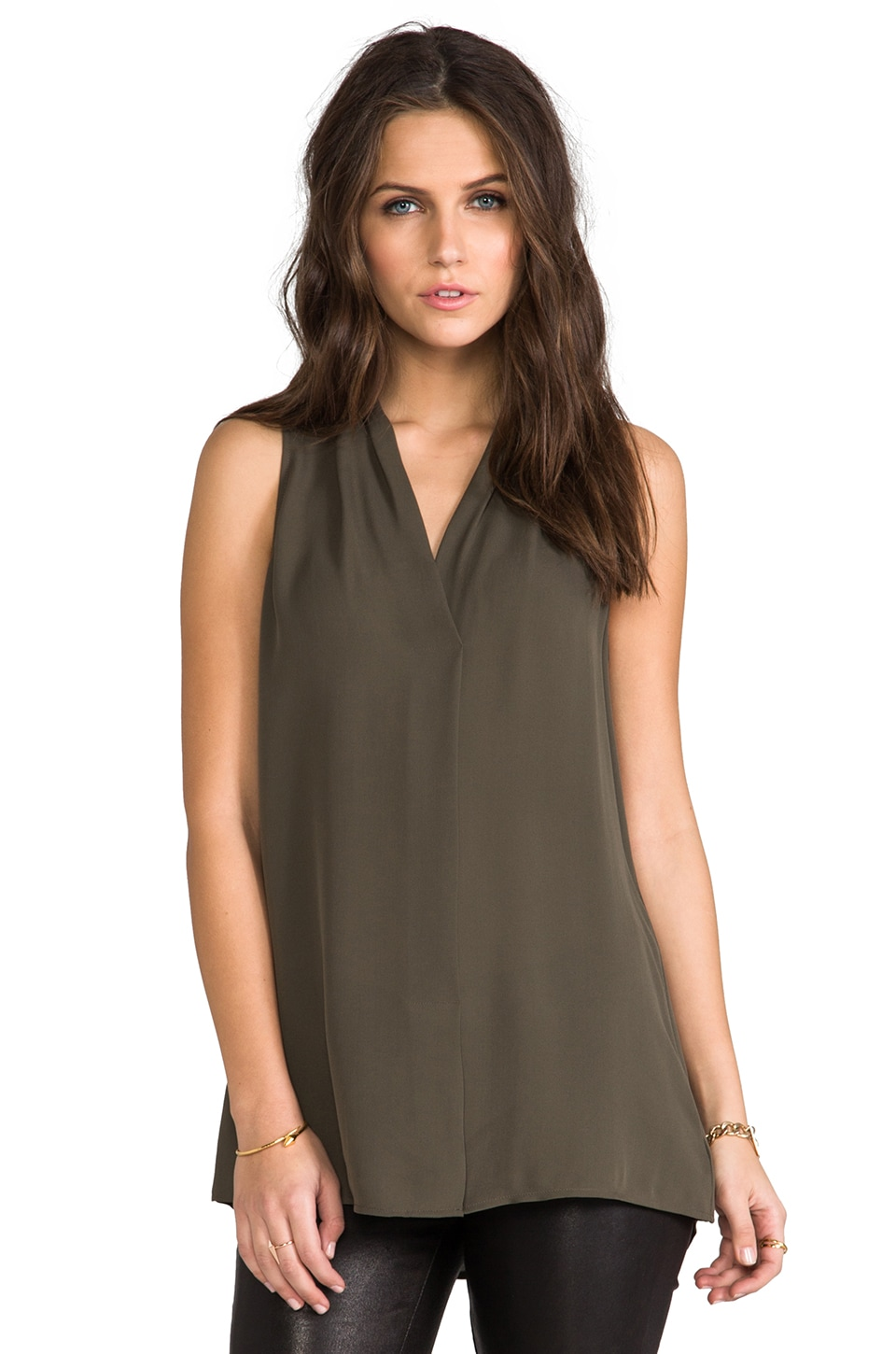 Theory Hylin Silk Tank in Khaki Green